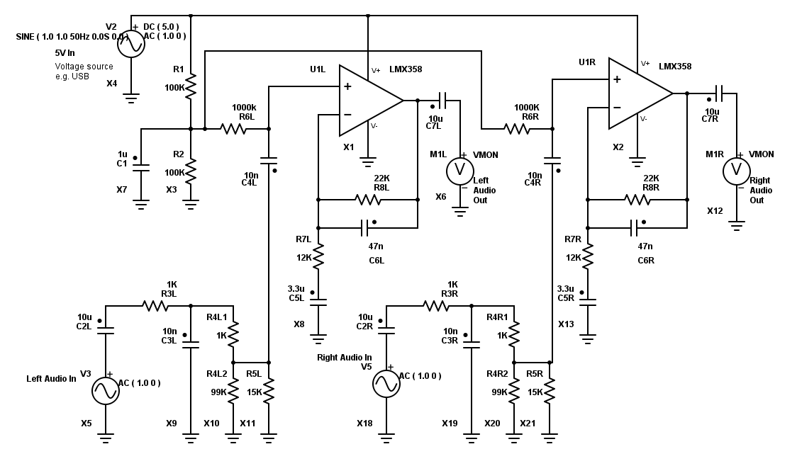 Bass boost - Battery operated op-amp circuit